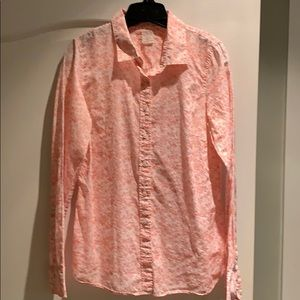 J. Crew pink and cream floral button down shirt